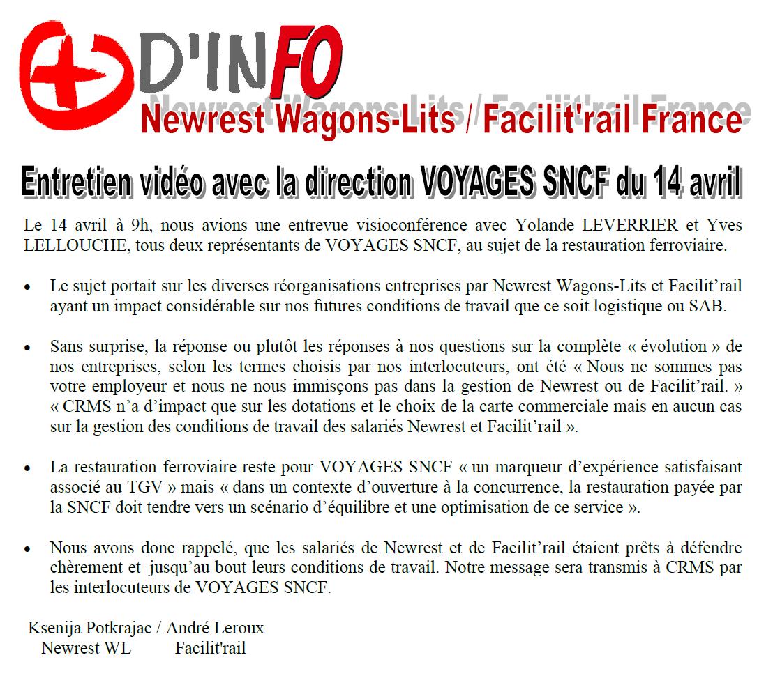 Audience SNCF Voyages du 14/04/2021